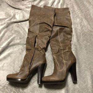 Jessica Simpson leather zip up knee heeled boots